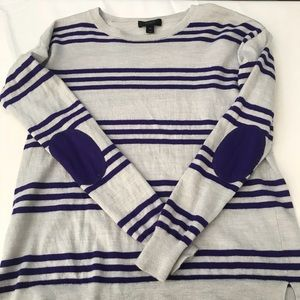 J Crew Sweater White with Purple Stripes XS